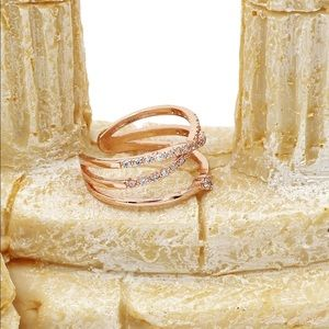 Ocean Fashion Jewelry - Rose gold cross the small crystal mosaic ring